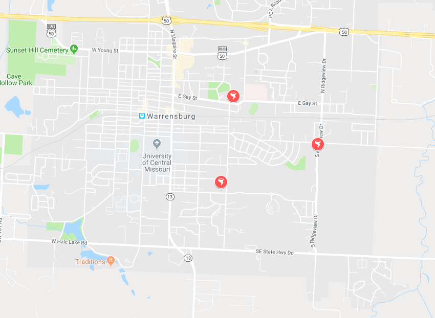 Map of the Mulitple Tornado Shelters Around Warrensburg